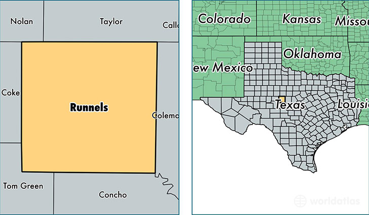 location of Runnels county on a map