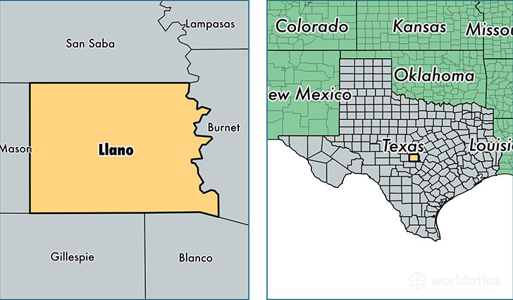 location of Llano county on a map