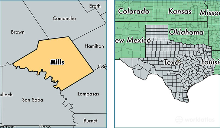 location of Mills county on a map