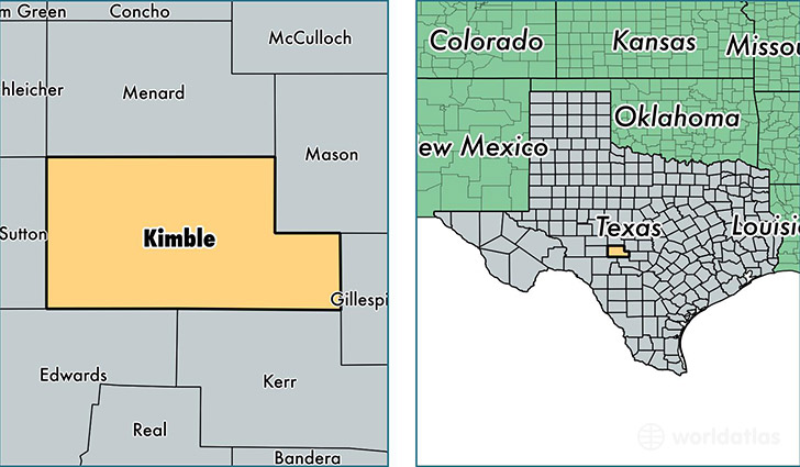 location of Kimble county on a map