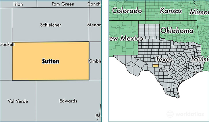 location of Sutton county on a map