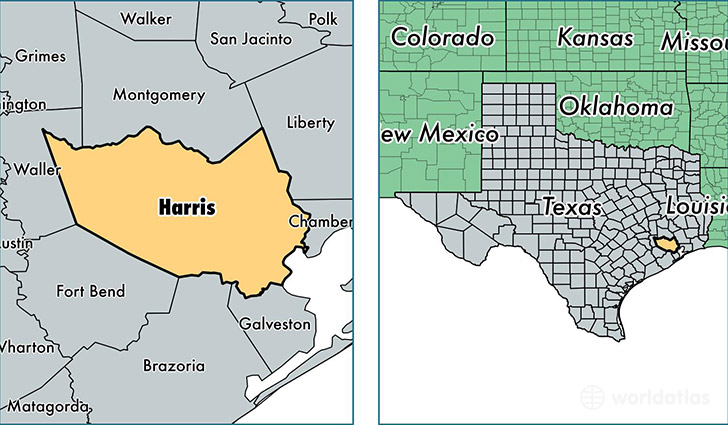 Harris County Texas Map Of Harris County TX Where Is Harris - Counties of texas map