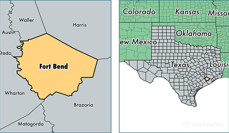 location of Fort Bend county on a map
