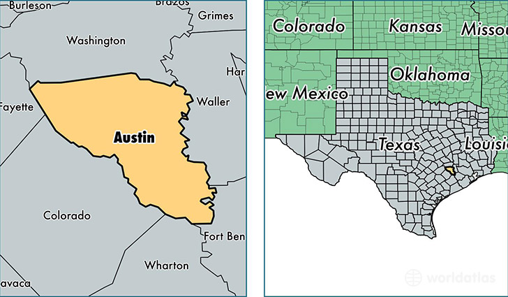 location of Austin county on a map
