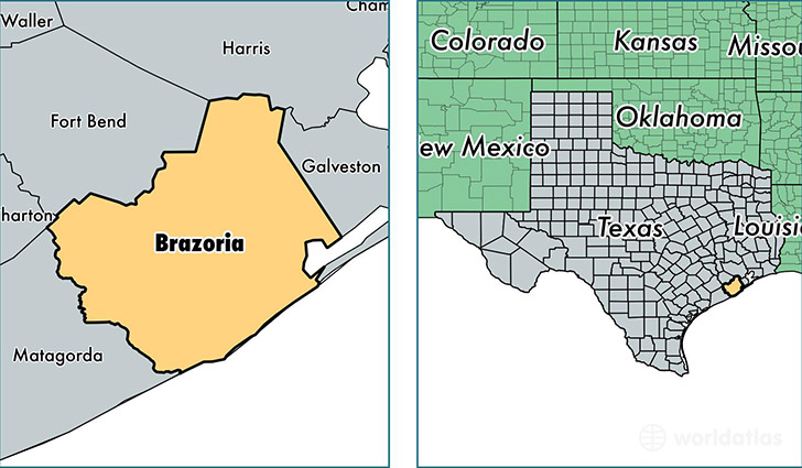 location of Brazoria county on a map