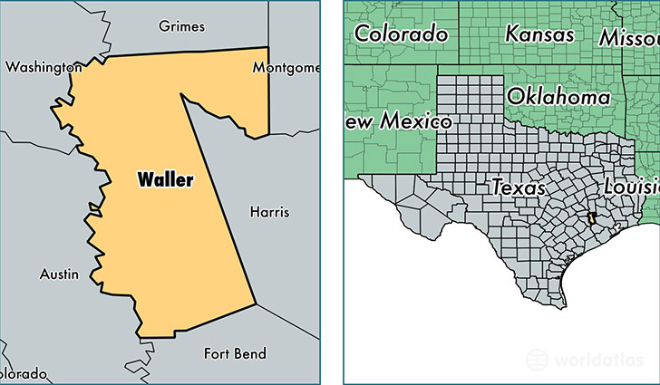 location of Waller county on a map