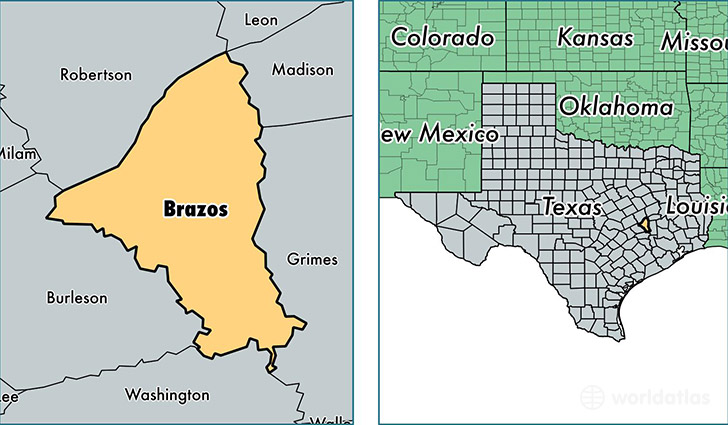 location of Brazos county on a map
