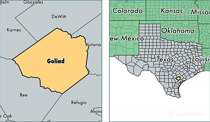 location of Goliad county on a map