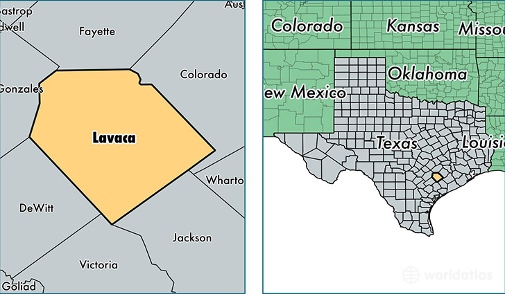 location of Lavaca county on a map