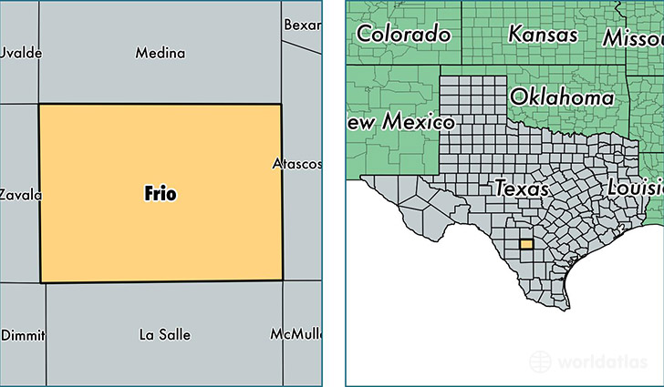 location of Frio county on a map