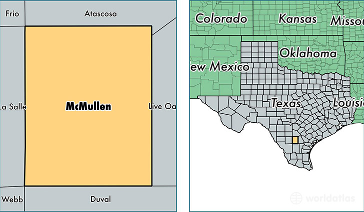 location of McMullen county on a map