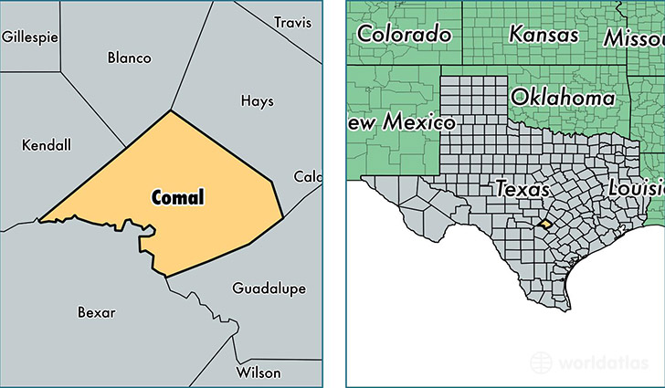 location of Comal county on a map