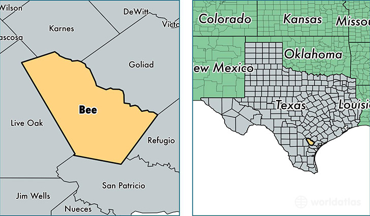 location of Bee county on a map