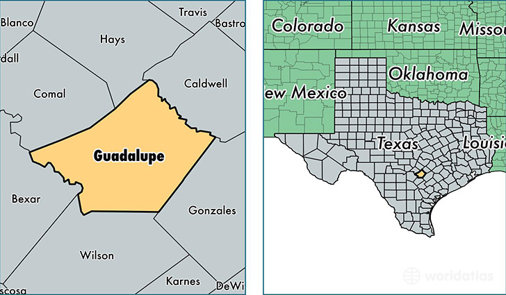 location of Guadalupe county on a map