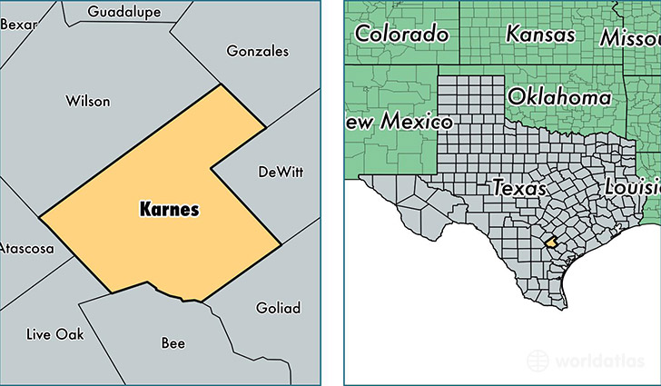 location of Karnes county on a map