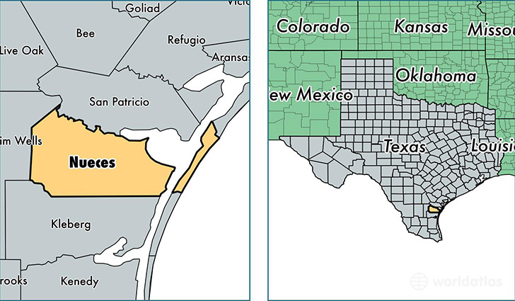 location of Nueces county on a map