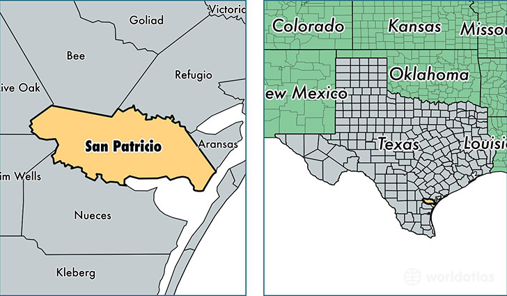 location of San Patricio county on a map
