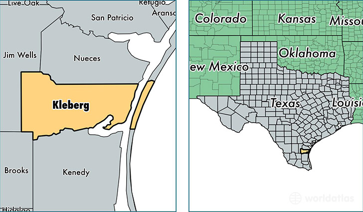 location of Kleberg county on a map