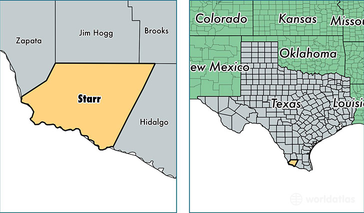location of Starr county on a map