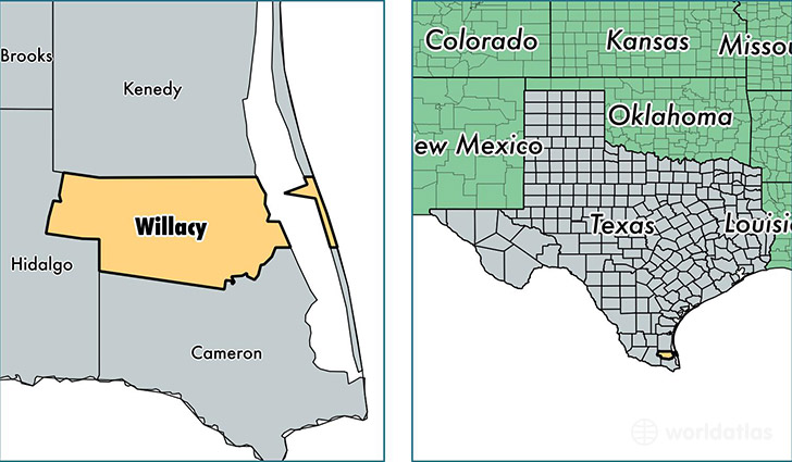 location of Willacy county on a map
