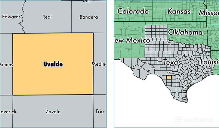 location of Uvalde county on a map