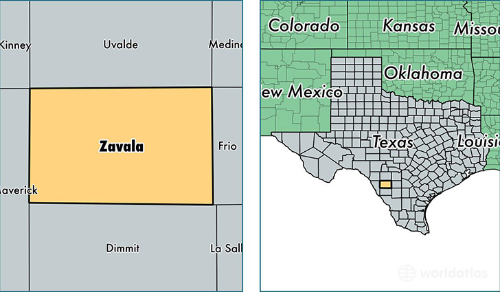 location of Zavala county on a map