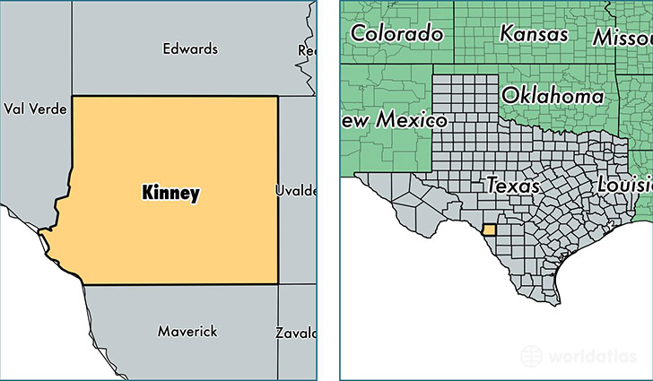 location of Kinney county on a map
