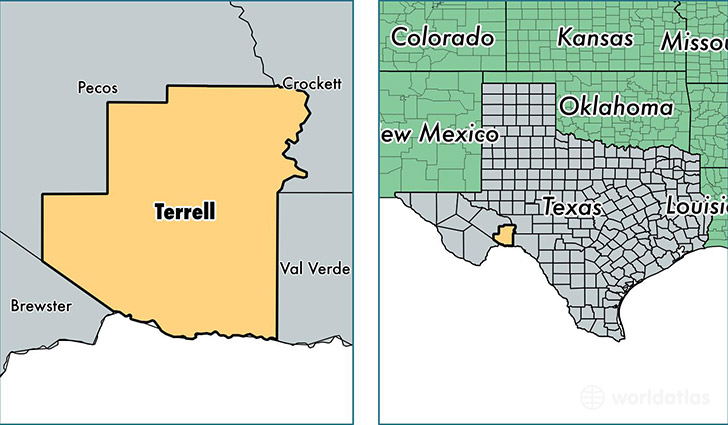 location of Terrell county on a map
