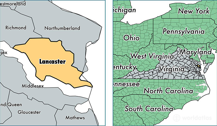 location of Lancaster county on a map