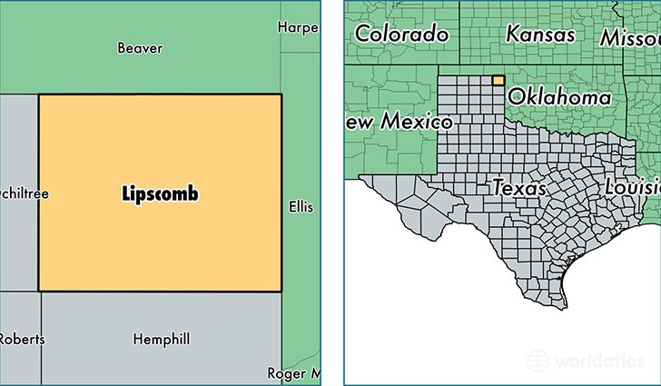 location of Lipscomb county on a map