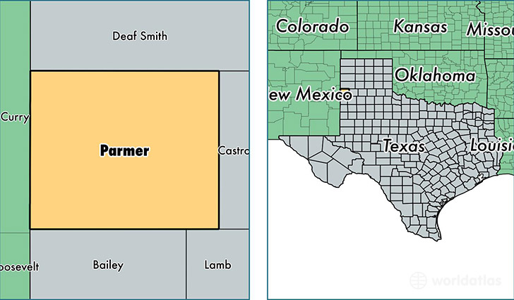 location of Parmer county on a map