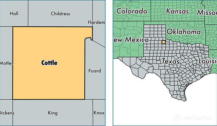 location of Cottle county on a map