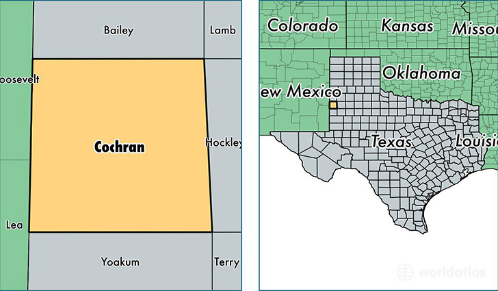 location of Cochran county on a map