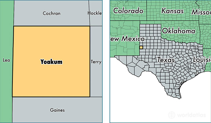 location of Yoakum county on a map