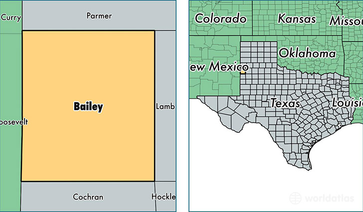 location of Bailey county on a map