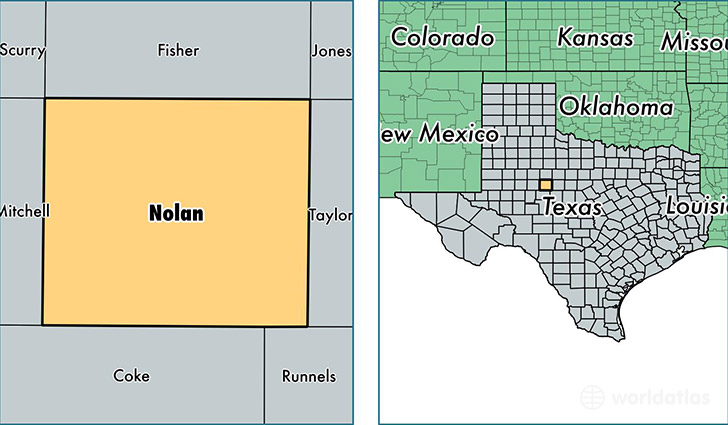 location of Nolan county on a map