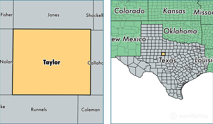 location of Taylor county on a map
