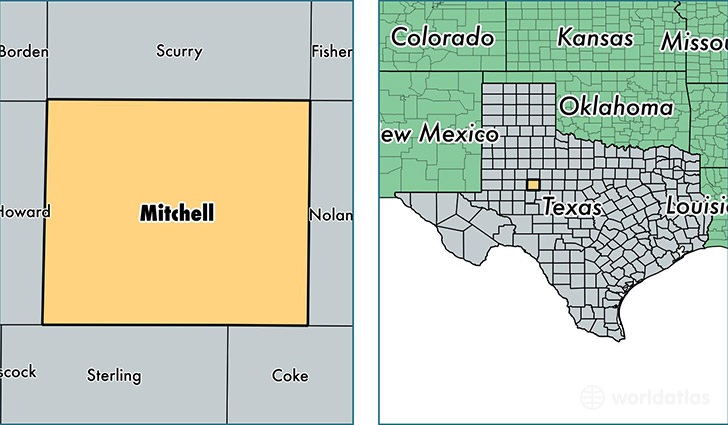location of Mitchell county on a map