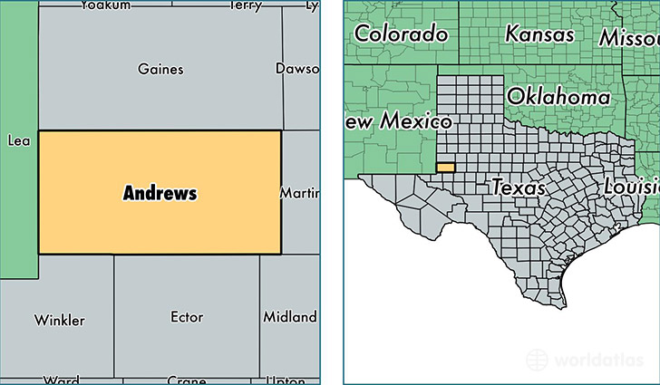 location of Andrews county on a map