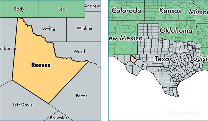 location of Reeves county on a map