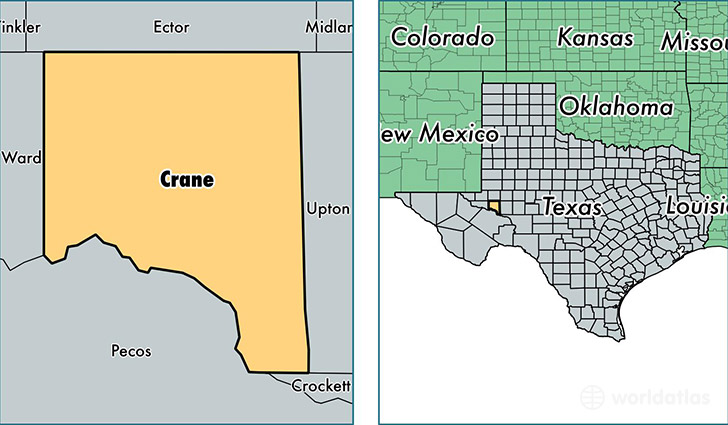 location of Crane county on a map