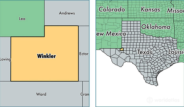 location of Winkler county on a map