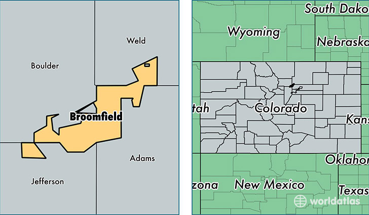 location of Broomfield county on a map