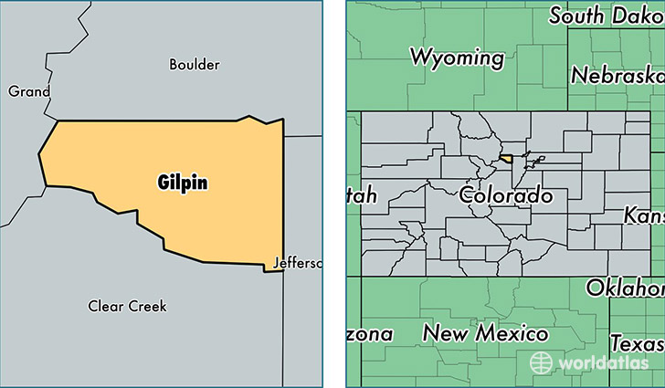 location of Gilpin county on a map
