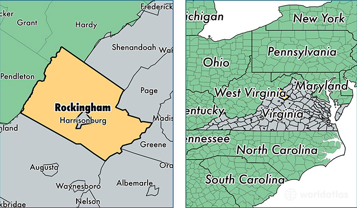 location of Rockingham county on a map