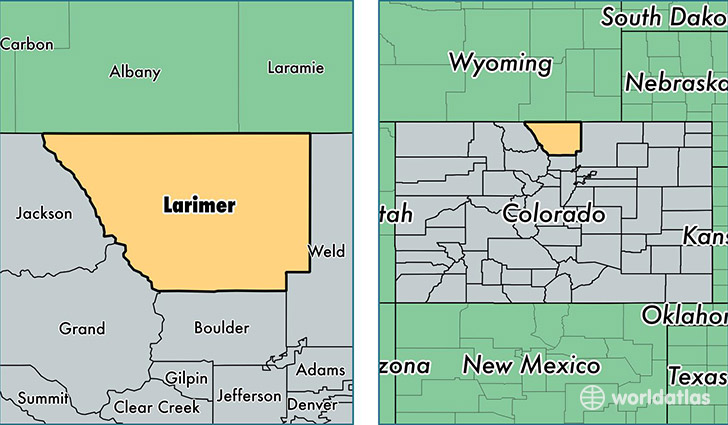 location of Larimer county on a map