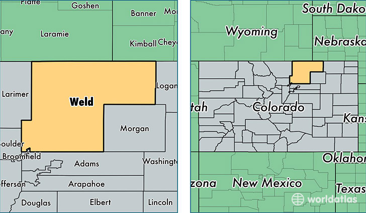 location of Weld county on a map