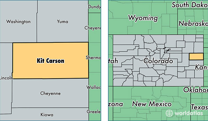 location of Kit Carson county on a map