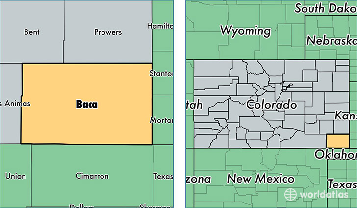 location of Baca county on a map