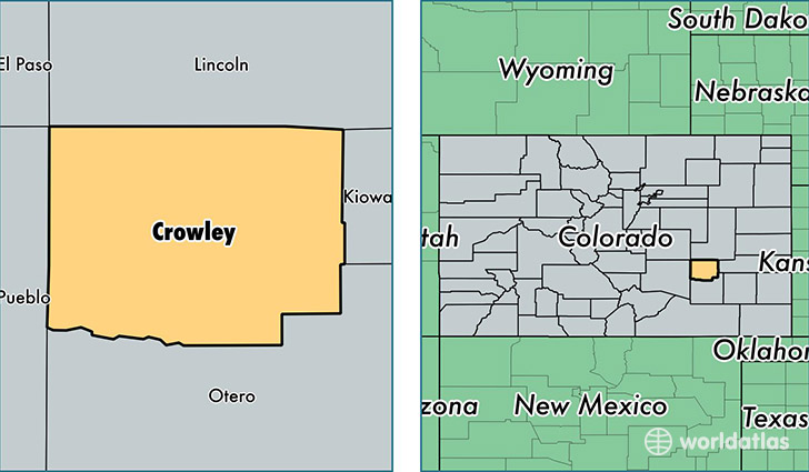 location of Crowley county on a map